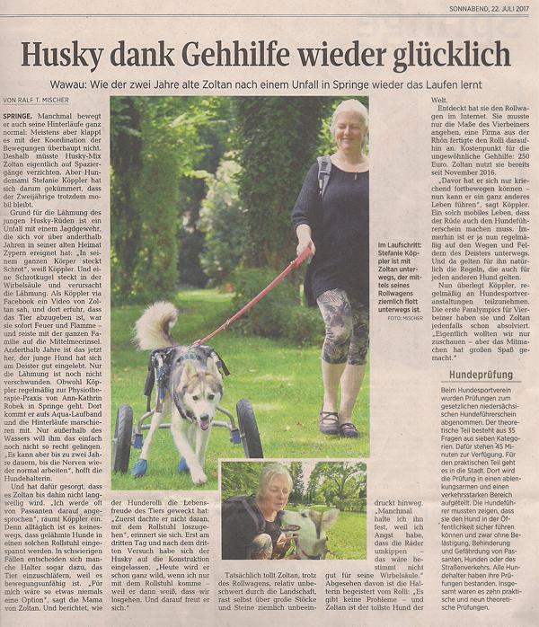 Husky dank Gehilfe wieder glücklich